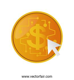 online shopping, golden coin money dollar digital icon isolated design