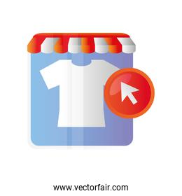 online shopping, ecommerce store clothes clicking icon isolated design