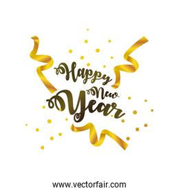 happy new year 2021 golden lettering ribbon on white background