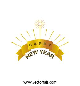 happy new year 2021 golden ribbon with text bright on white background