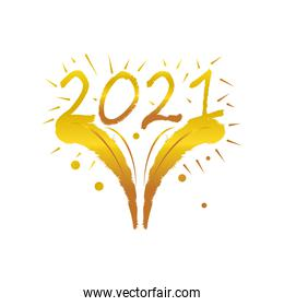 happy new year 2021 golden fireworks celebration on white background