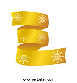happy new year 2021 golden curled ribbon with snowflakes on white background