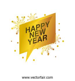 happy new year 2021 greeting card golden banner on white background