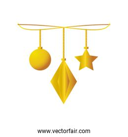 happy new year 2021 golden hanging ball star ornament on white background