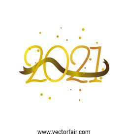 happy new year 2021 golden numbers and ribbon decoration on white background