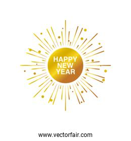 happy new year 2021 golden sparkles bright banner on white background