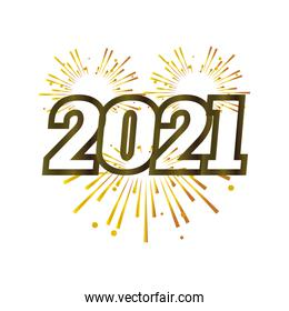 happy new year 2021 golden number with fireworks on white background