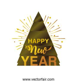 happy new year 2021 golden handwritten text tree and decoration on white background