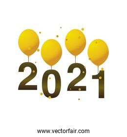 happy new year 2021 golden balloons with numbers on white background