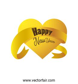 happy new year 2021 golden heart with ribbon decoration on white background