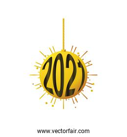 happy new year 2021 golden hanging ball with numbers on white background