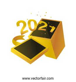 happy new year 2021 golden numbers in box and ribbon on white background