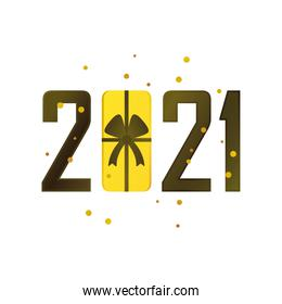 happy new year 2021 golden gift in number on white background