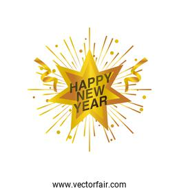 happy new year 2021 golden star streamer decoration on white background