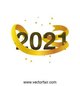 happy new year 2021 golden number curly ribbon confetti on white background