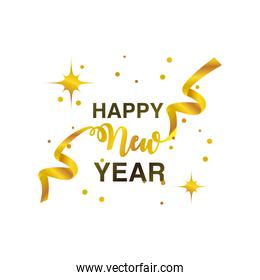happy new year 2021 golden ribbon lettering bright on white background