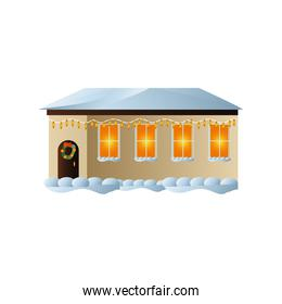 merry christmas, house with lights bulb wreath and snow on white background