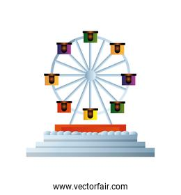 wheel ferris carnival on white background