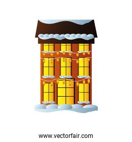 merry christmas, building with decorative light bulbs and snow on white background