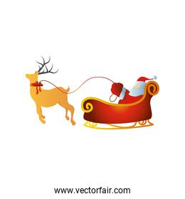 merry christmas, santa in the sled with reindeer on white background