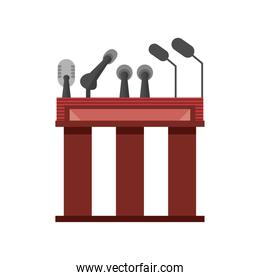 wooden podium tribune rostrum with microphones