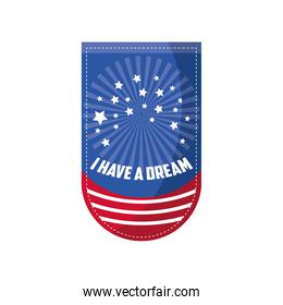 Martin Luther King Day, pendant with american flag color and lettering