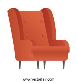 red sofa couch forniture house isolated icon