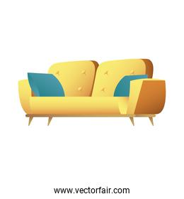 yellow sofa double with cushions forniture house