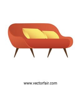 red sofa double with cushions forniture house isolated icon