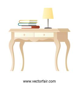 lamp and books in table wooden house forniture