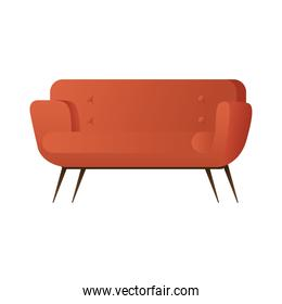 red sofa double forniture house isolated