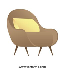 sofa with cushion forniture house isolated icon