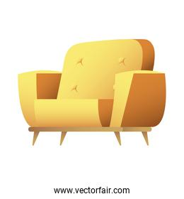 yellow sofa couch forniture house isolated icon