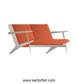 red sofa double forniture house isolated icon