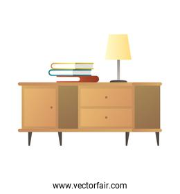 lamp and books in wooden drawer house forniture