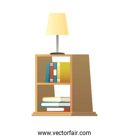 lamp in wooden bookscase house forniture