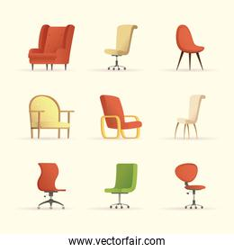 bundle of chairs forniture house set icons