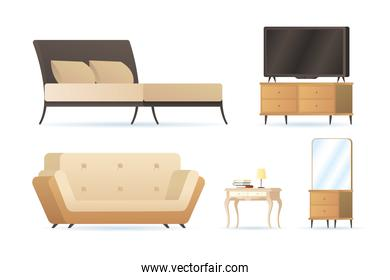 bundle of five forniture house set icons
