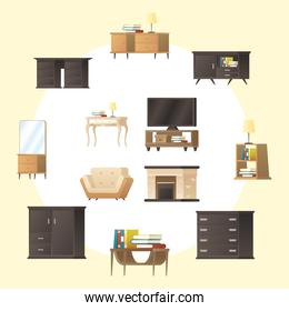 bundle of forniture house set icons around