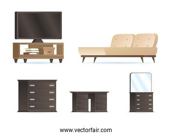 bundle of bedroom forniture house set icons