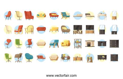 bundle of forniture house set icons