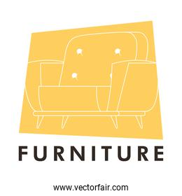 yellow sofa couch forniture house icon