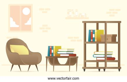 bookscase and sofa forniture house set icons