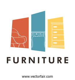 bundle of three forniture house set icons