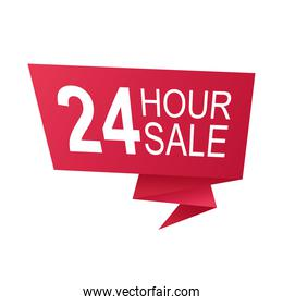 24 hours sale countdown badge with ribbon