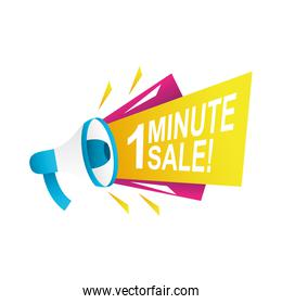 one minute sale countdown badge with megaphone