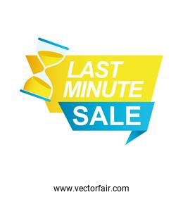last minute sale countdown badge with sandglass