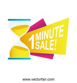 one minute sale countdown badge with sandglass