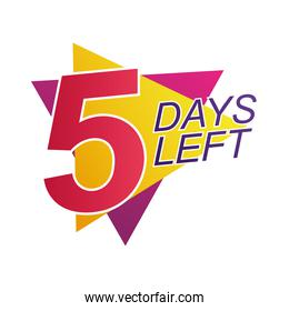 five days left sale countdown badge