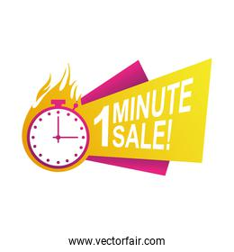 one minute sale countdown badge with chronometer